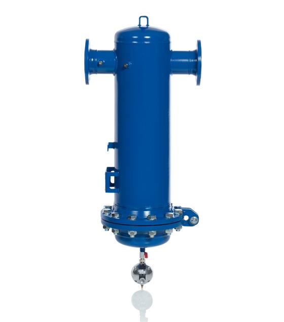 KSI Filtertechnik Flanschfilter mit Filterelement und Kondensatableiter.