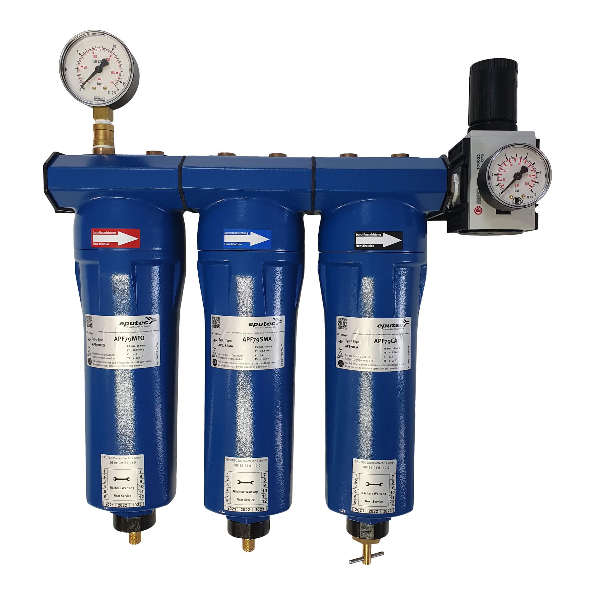 3-stufige Wartungseinheit für Filtergehäuse, Manometer, Kondensatableiter